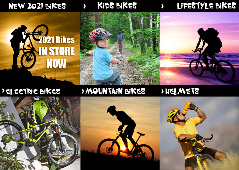 Range of Mountain Bikes, Cycle Helmets, Components and Electric Bikes (E Bikes).